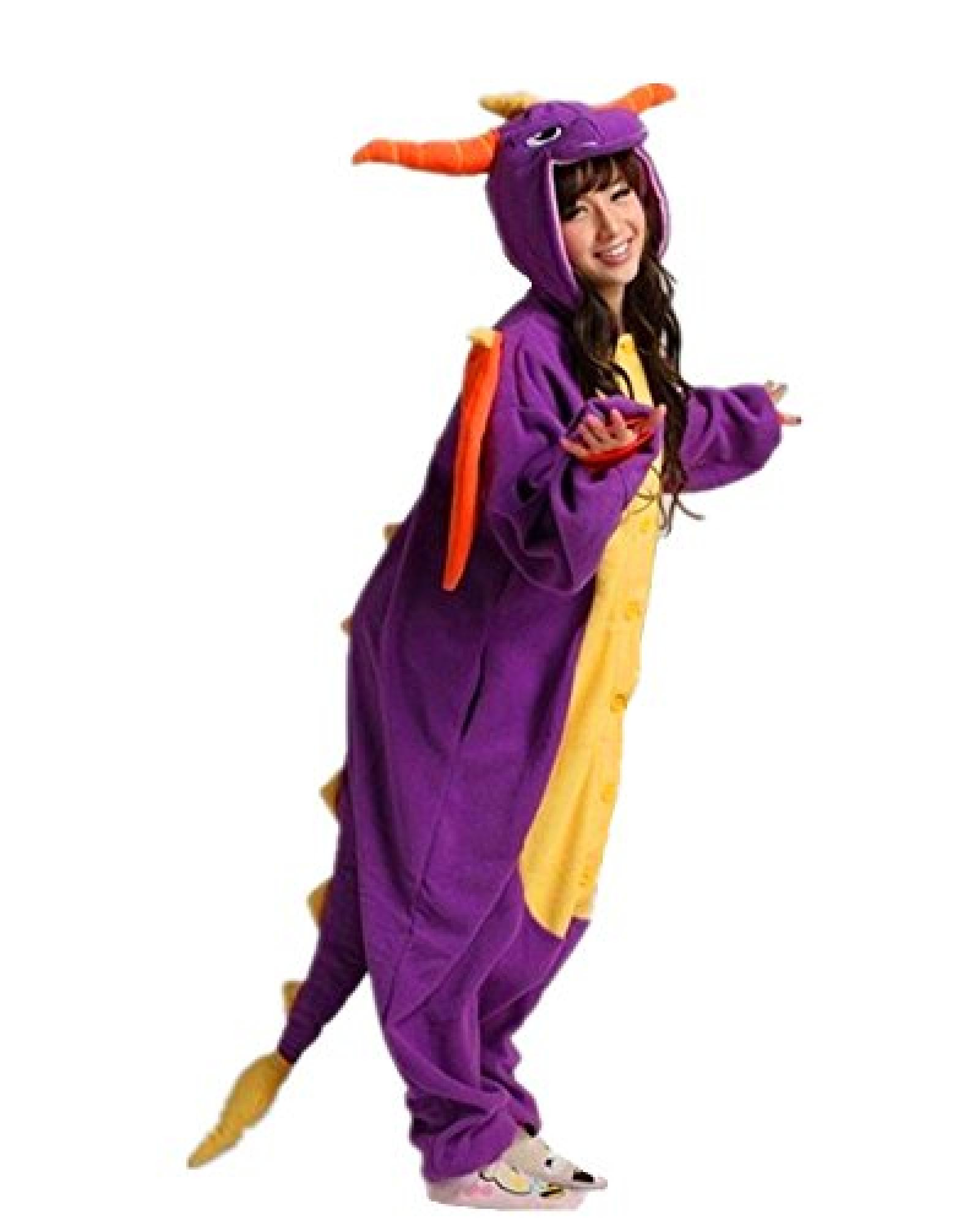 DAYAN Tier Onesie Animal Lila Drache Pyjama Unisex Erwachsene Cosplay Kostüm Jumpsuit