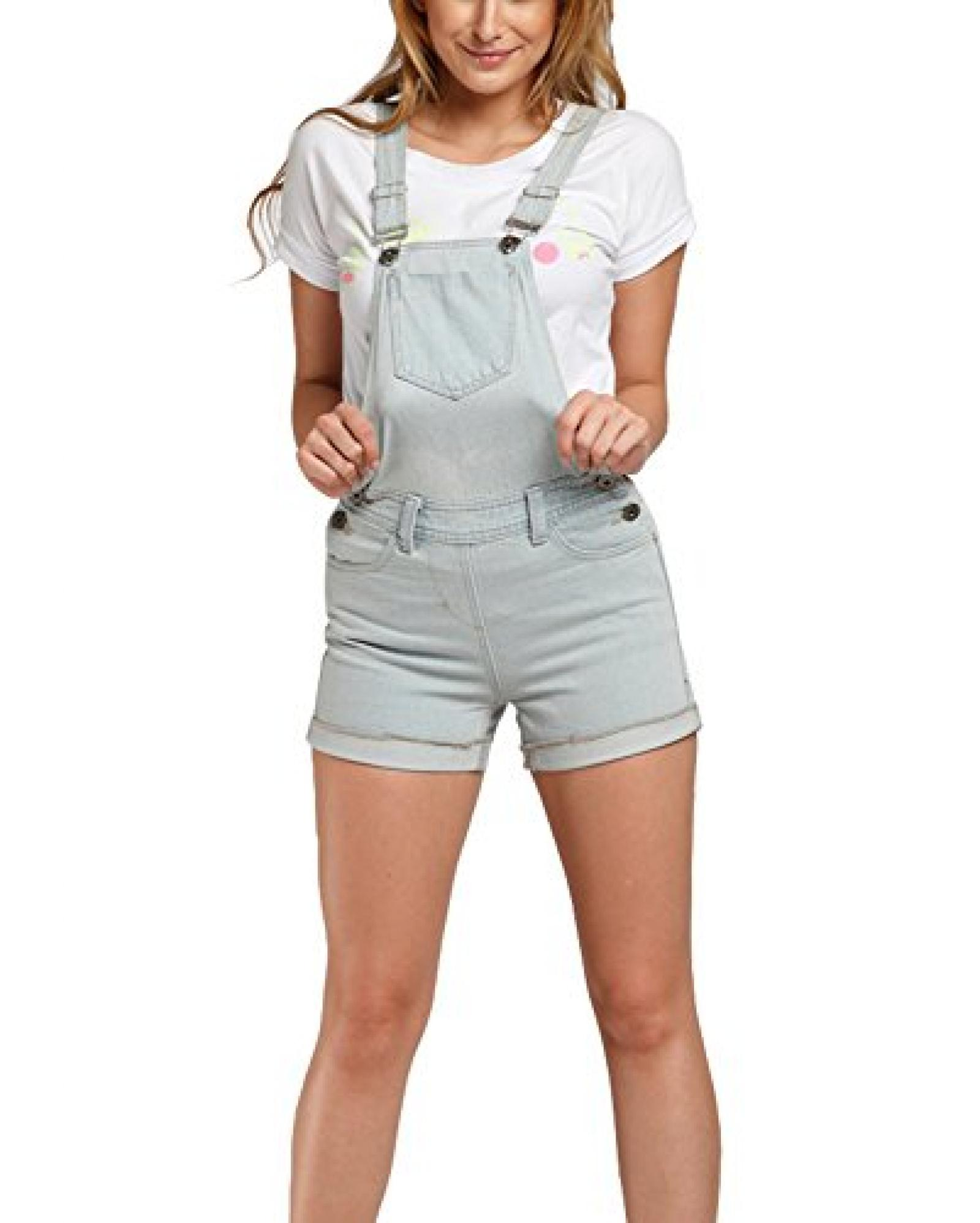 BININBOX®Damen Latzhose Jeans kurz Jeans Shorts Latzshorts Denim Hot Pants Taschen Jumpsuit Träger umschlagend